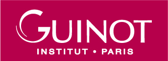 Guinot Logo _ treatments facial apge White on Red