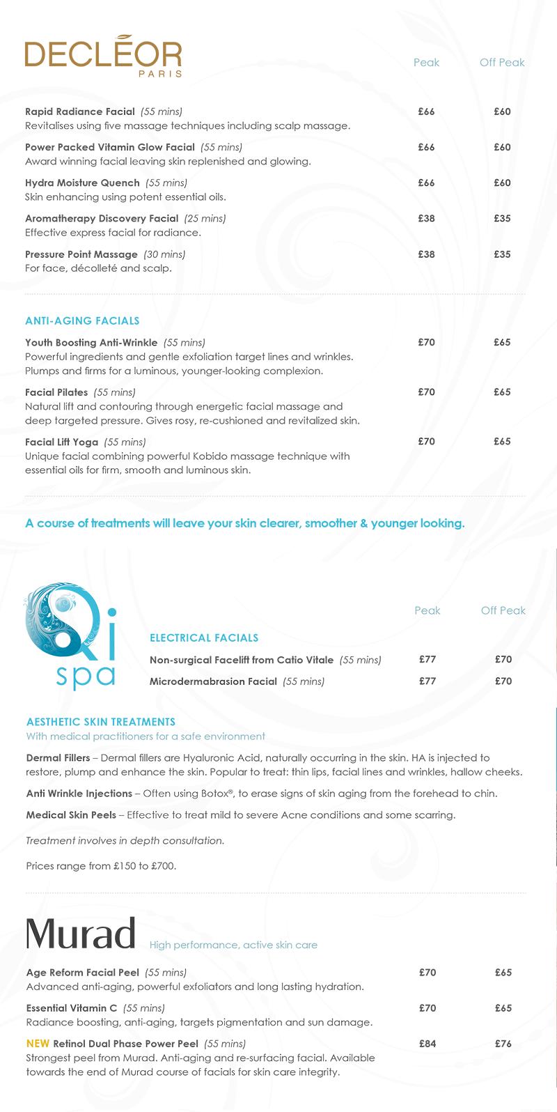 Cambridge Price List | Qi spa